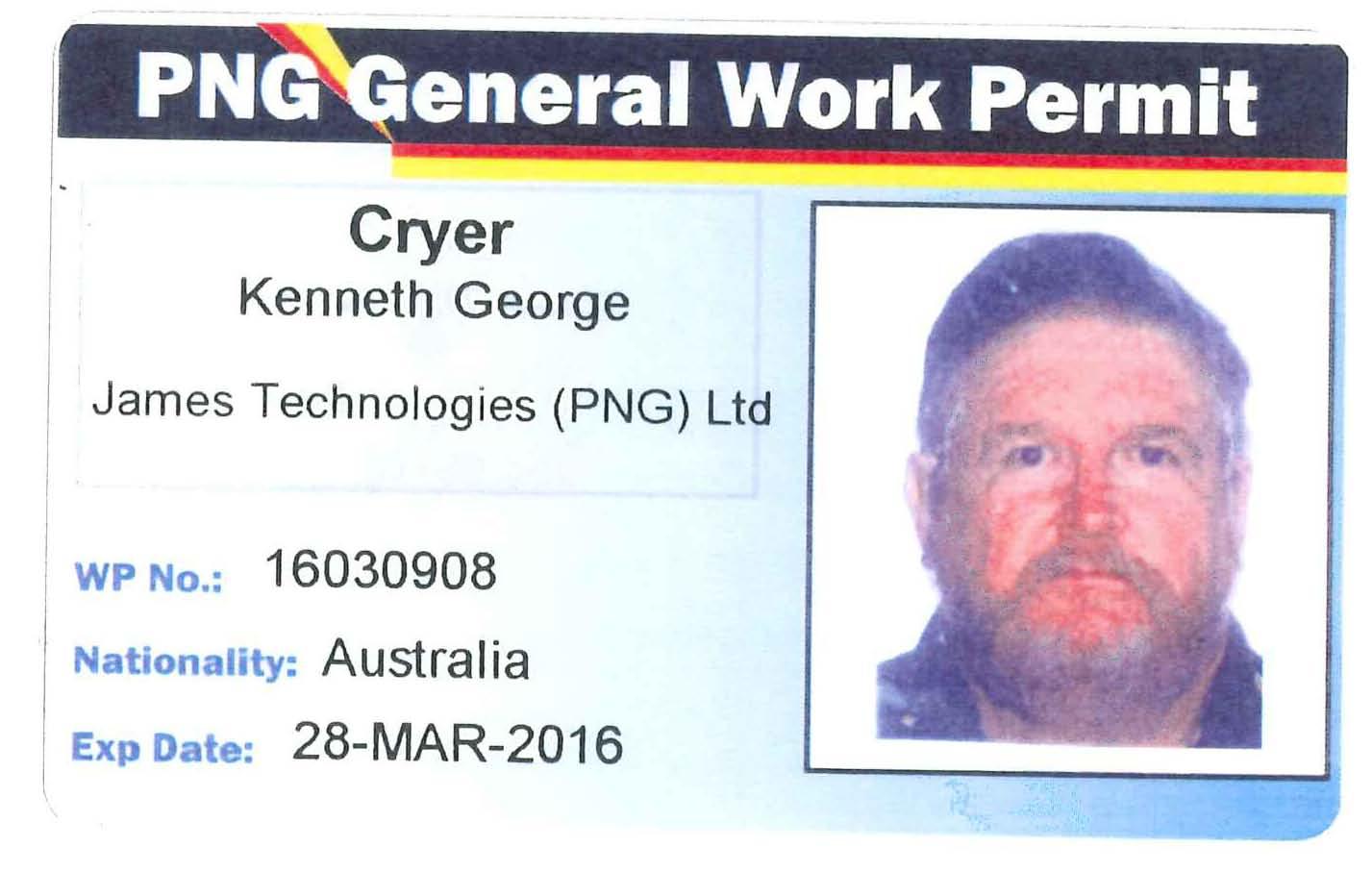 Ken Cryer PNG Work Permit